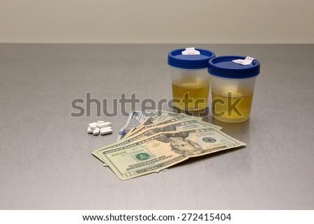 Drug Test,Urinalysis, Drugs, Pharmaceutical , - stock photo