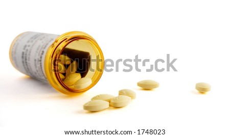 Drugs and Pill Bottle isolated on white