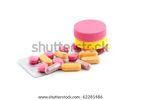 drugs, pills for sick people isolated on white background