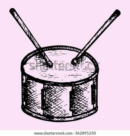 drum and drum sticks, doodle style, sketch illustration, hand drawn, raster - stock photo