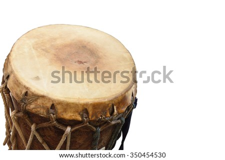drum,Drum production in drums made of cowhide leather on isolate background - stock photo