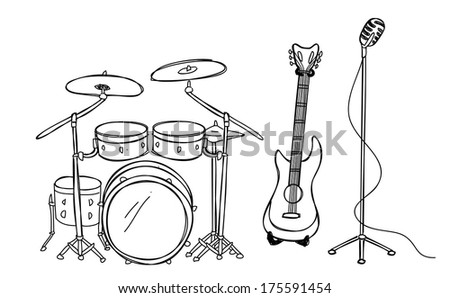 drum guitar and microphone - stock photo