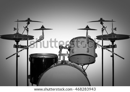 Drum kit black and white photography