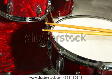 Drum set closeup - stock photo