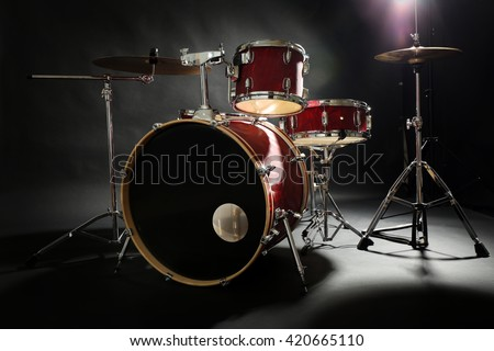 Drum set on a stage - stock photo