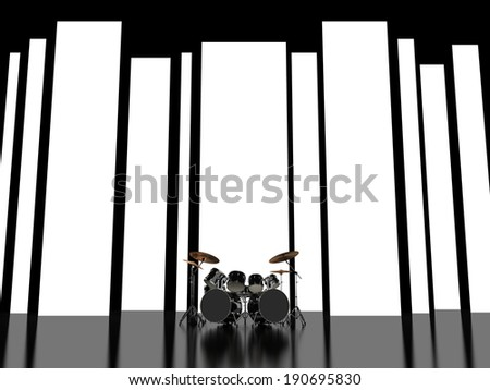 Drum set on an abstract background of glowing stripes - stock photo