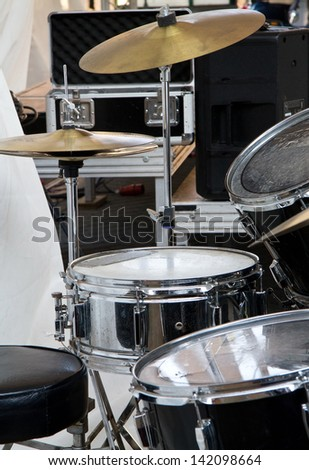 Drum set-up - stock photo