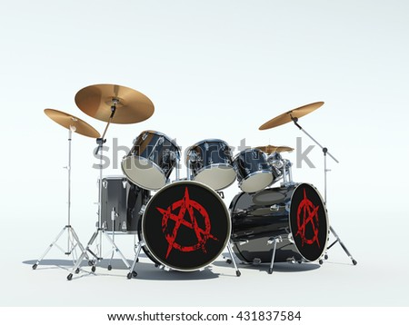 Drum set with anarchy sign. 3D Render