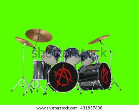 Drum set with anarchy sign. Isolated on green background. 3D Render