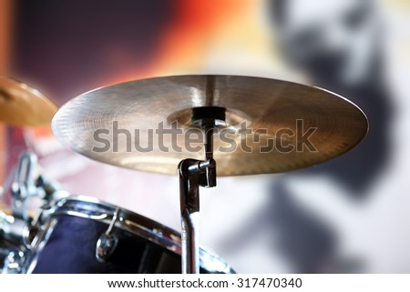 drum set with focus on hi hat cymbal