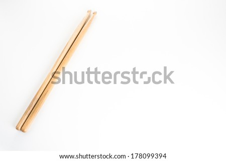 drum stick on white isolated - stock photo