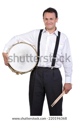 Drummer man to play the drums. Isolated on white background - stock photo
