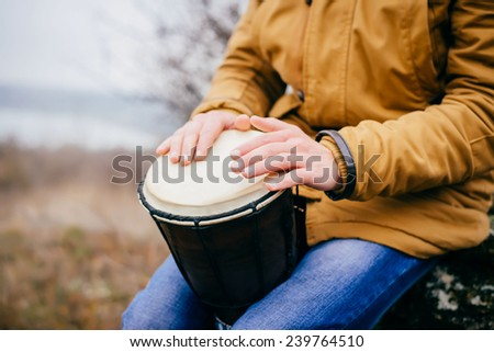 drumming close up - stock photo