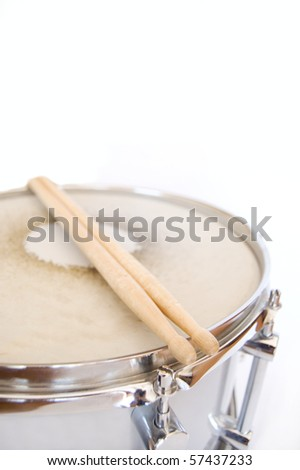 Drums conceptual image. Sticks lies on snare. - stock photo