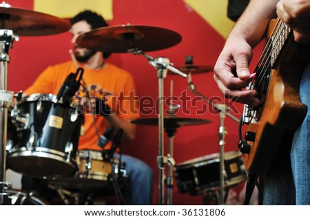 drums music player at home garage on training and practice - stock photo