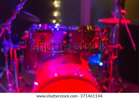 Drums on stage for background, soft and blur concept. - stock photo