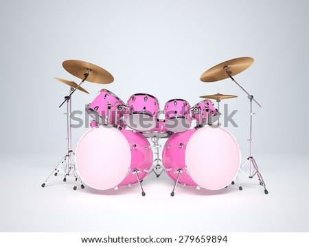 Drums pink with two bass drums - stock photo
