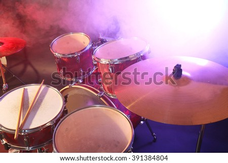 Drums set and sticks, close-up - stock photo
