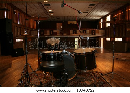 Drumset ready in school hall - stock photo