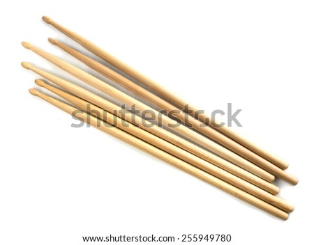 Drumsticks isolated on white. - stock photo