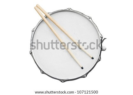 drumsticks on a drum - stock photo