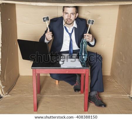 Drunk businessman boasts earnings - stock photo