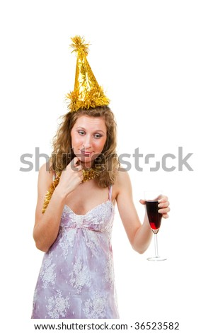 Drunk girl with a glass of wine at a party