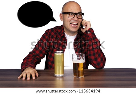 Drunk guy have a conversations - stock photo