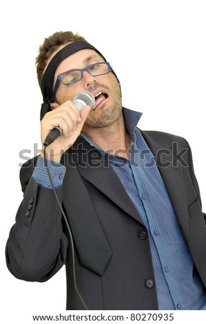 Drunk karaoke singer isolated in white
