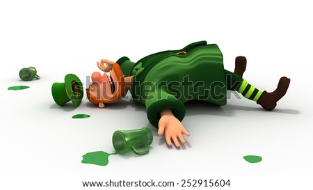 Drunk leprechaun and green drops - stock photo