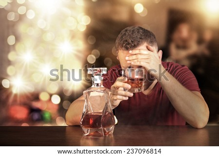 Drunk man in home on christmas time