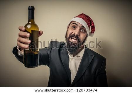 drunk modern elegant santa claus babbo natale on grey background - stock photo
