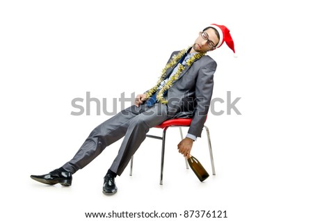 Drunk office worker after christmas party - stock photo
