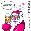 Drunk santa proposing a toast with a glass - stock vector
