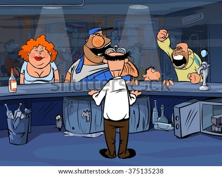 drunken bar Visitors demand a drink from the bartender - stock photo