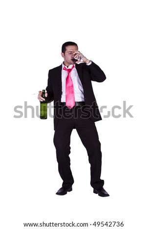 Drunken Businessman Holding a Wine Bottle Trying to Keep his Balance - Isolated Background