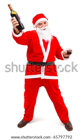 Drunken Santa Claus with wine bottle and glass in hand