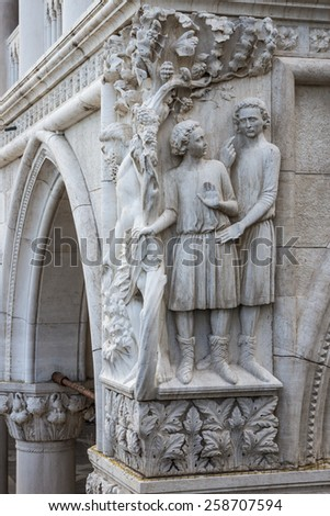 Drunkenness of Noah - architectural detail of column at Doge's Palace, Venice, Italy  - stock photo
