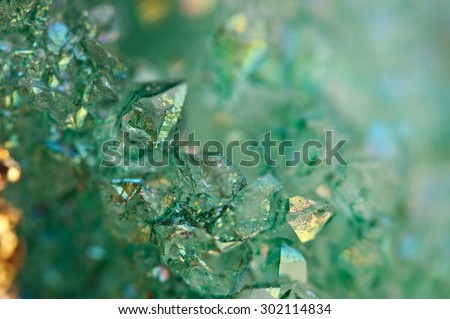 Druse green crystals Agate SiO2 silicon dioxide. Macro. Fantastic Beautiful Background for successful Your project - stock photo