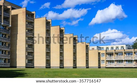 DRUSKININKAI, LITHUANIA - JULY 16, 2015: The complex of the sanatorium Egles in Druskininkai, Lithuania. Egles is treatment and rehabilitation center with therapeutic mud and mineral water