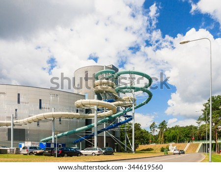 DRUSKININKAI, LITHUANIA - JULY 12, 2015: Water slides of the Aquapark in Druskininkai, Lithuania. Druskininkai is a spa town on the Neman River in southern Lithuania