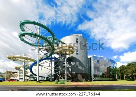 DRUSKININKAI, LITHUANIA - JUNE 22: Water attraction park in Druskininkai spa city, close to the borders of Belarus and Poland on June 22, 2014, Druskininkai, Lithuania.