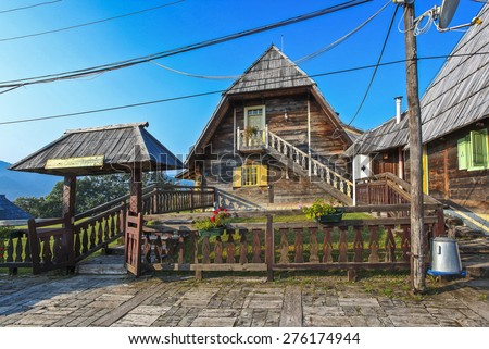 DRVENGRAD, SERBIA - MARCH 29, 2010: Traditional village that the Serbian film director Emir Kusturica built for his film Life Is a Miracle.It is a ethno-village in mountain nature park Mokra Gora. - stock photo