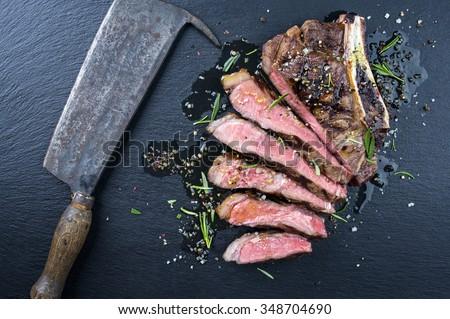 Dry Aged Barbecue Cote de Boeuf - stock photo