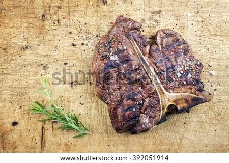 Dry Aged Barbecue T-Bone Steak - stock photo