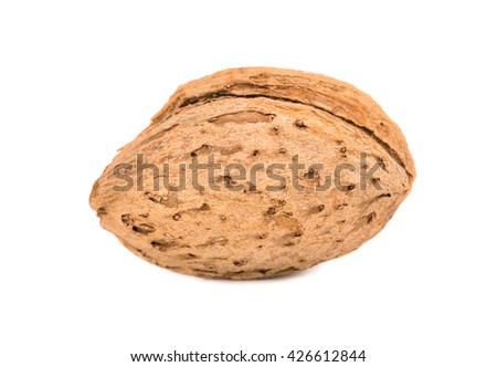 Dry almonds in shell isolated on white background