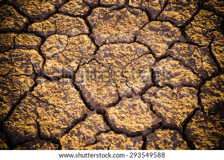 Dry and cracked earth background - stock photo