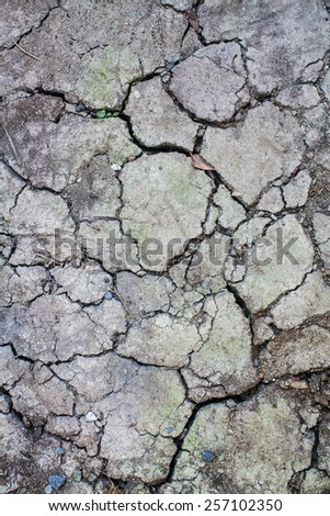 Dry and Cracked Ground Surface and Texture  - stock photo