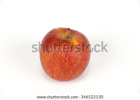 dry apple on white background