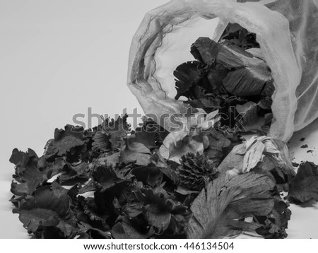 dry aromatic flowers and spices spilling out of a bag, black and white tone - stock photo